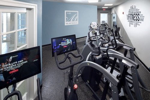 Fitness room with Pelotons